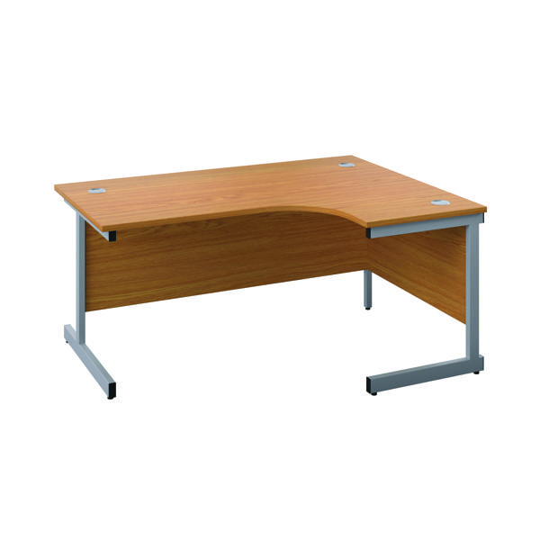First Right Hand Radial Cantilever Desk 1600x1200mm Nova Oak/Silver KF803058
