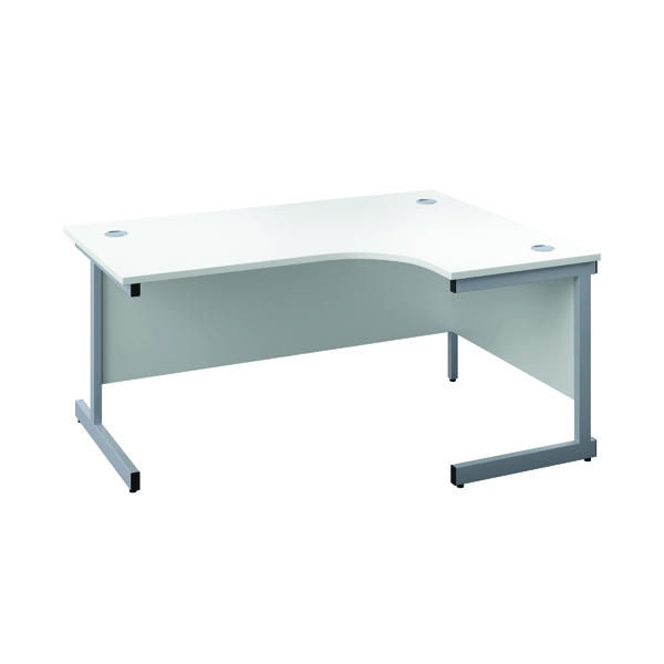 First Right Hand Radial Cantilever Desk 1600x1200mm White/Silver KF803065