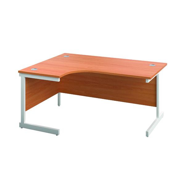 First Left Hand Radial Cantilever Desk 1600x1200mm Beech/White KF803072