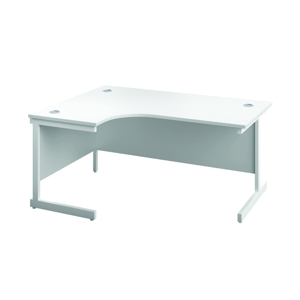 First Left Hand Radial Cantilever Desk 1600x1200mm White/White KF803096