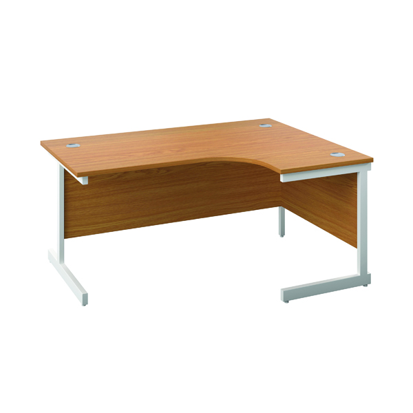 First Right Hand Radial Cantilever Desk 1600x1200mm Nova Oak/White KF803119