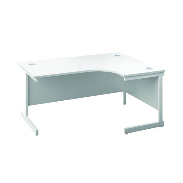First Right Hand Radial Cantilever Desk 1600x1200mm White/White KF803126