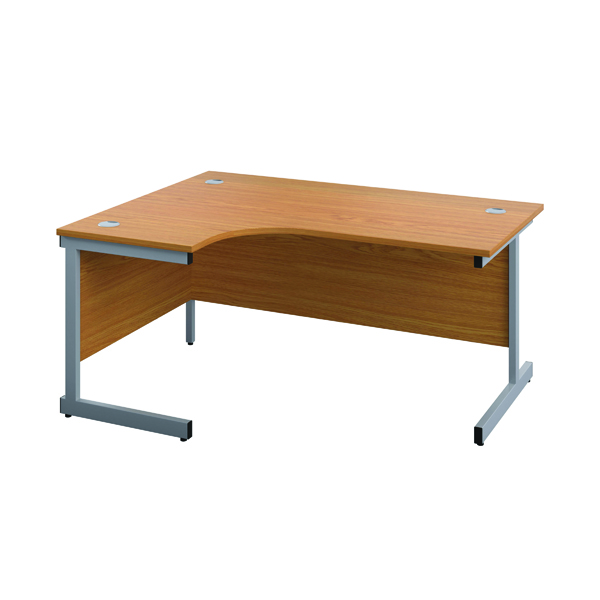 First Left Hand Radial Cantilever Desk 1800x1200mm Nova Oak/Silver KF803140