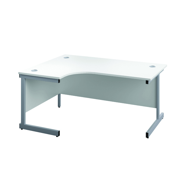 First Left Hand Radial Cantilever Desk 1800x1200mm White/Silver KF803157