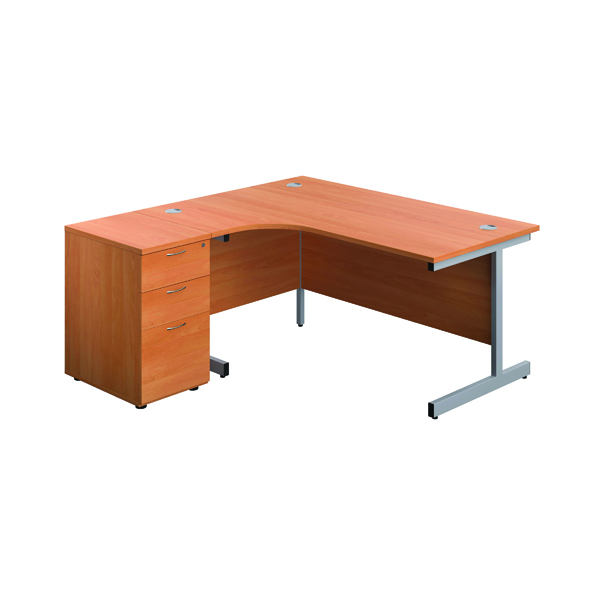 First Left Hand Radial Desk 1600mm Beech/Silver with Pedestal KF803256