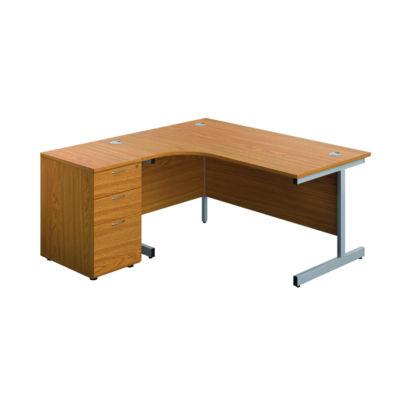 First Left Hand Radial Desk 1600 Nova Oak/Silver w/ Pedestal KF803263
