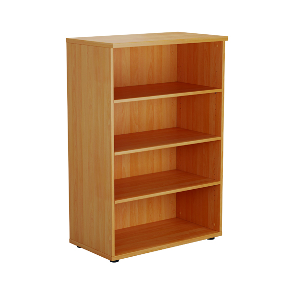 First 1200mm 3 Shelf Wooden Bookcase 450mm Depth Beech KF803652