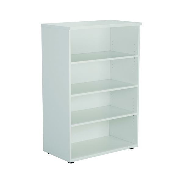 First 1200mm 3 Shelf Wooden Bookcase 450mm Depth White KF803676