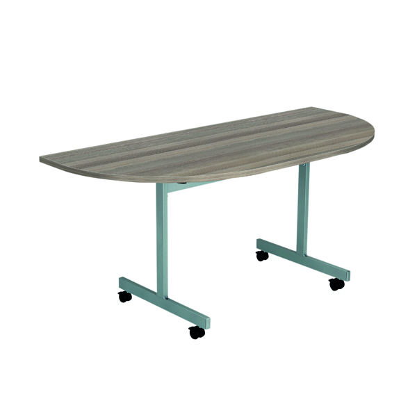 Jemini D-End Tilt Table 1400 x 700mm Grey Oak/Silver OETT1470DENDSVGO