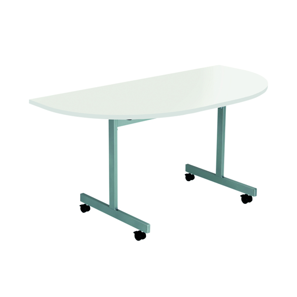 Jemini D-End Tilt Table 1400 x 700mm White/Silver OETT1470DENDSVWH