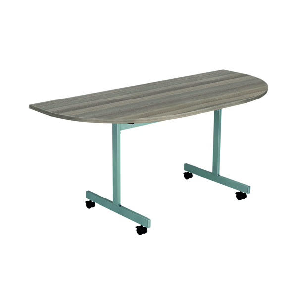 Jemini D-End Tilt Table 1600 x 800mm Grey Oak/Silver OETT1680DENDSVGO