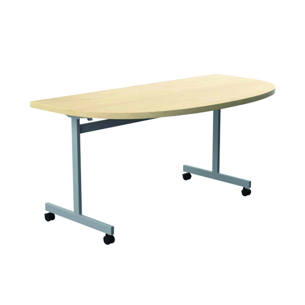 Jemini D-End Tilt Table 1600 x 800mm Maple/Silver OETT1680DENDSVMA