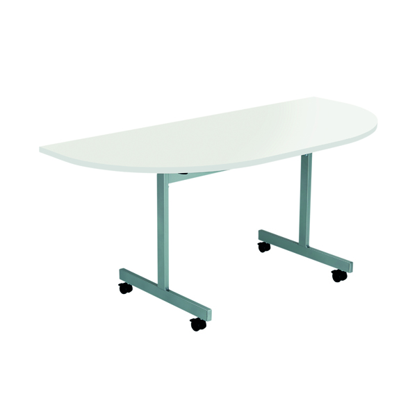 Jemini D-End Tilt Table 1600 x 800mm White/Silver OETT1680DENDSVWH