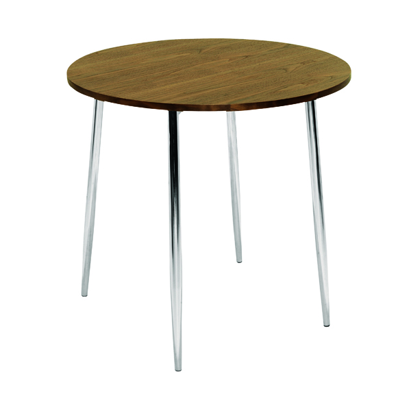 Arista Walnut/Chrome 800mm Round Bistro Table KF838316