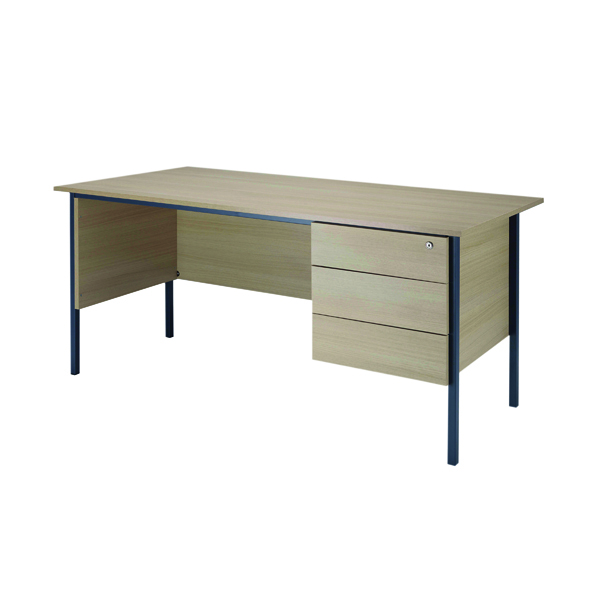Jemini Intro Warm Maple 1500mm 4 Leg Desk With 3 Drawer Pedestal KF838537