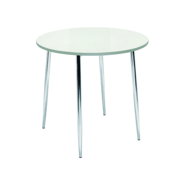 Arista White/Chrome 800mm Round Bistro Table KF838543