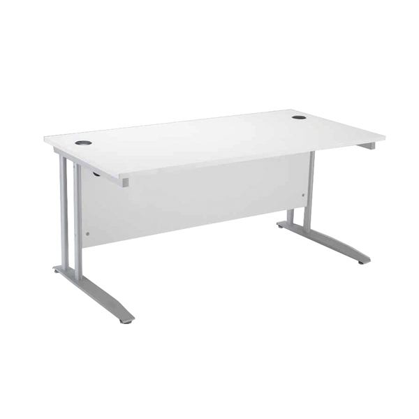 Arista Cantilever 1400mm White Rectangular Desk KF838774