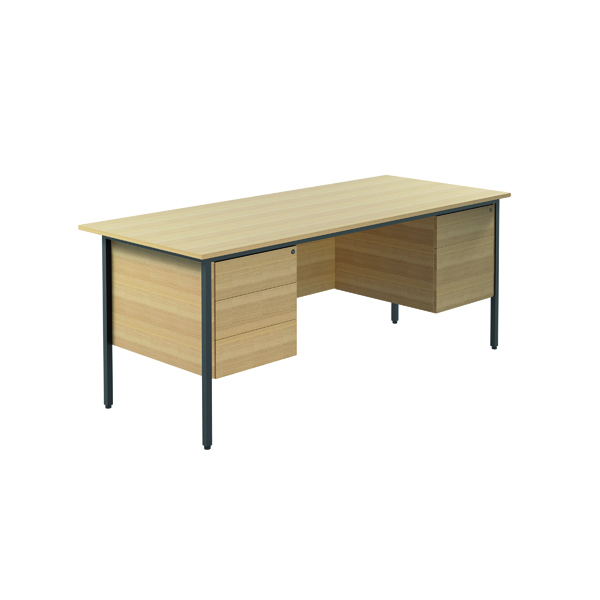 Serrion 1800mm Ferrera Oak 4 Leg Double Pedestal Desk KF838777