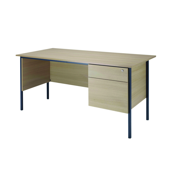 Jemini Intro Warm Maple 4 Leg Desk 1800mm With 2 Drawer Pedestal KF838791