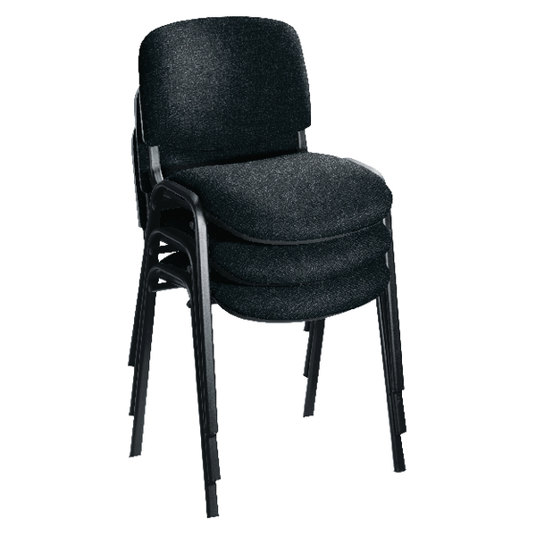 First Multipurpose Stacking Chair Black Frame Charcoal Upholstery (4 Pack) KF839226