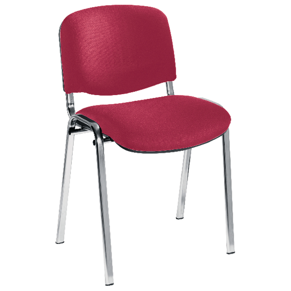 First Multipurpose Stacking Chair Chrome Frame Claret Upholstery KF839228