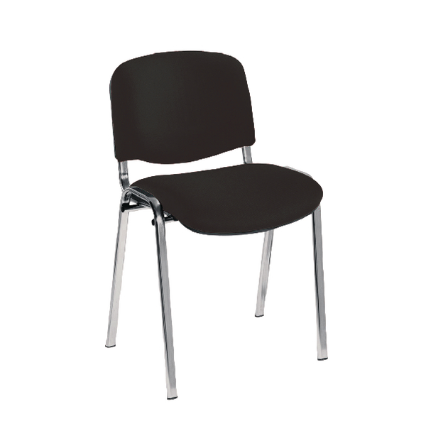 First Multipurpose Stacking Chair Chrome Frame Charcoal Upholstery KF839229