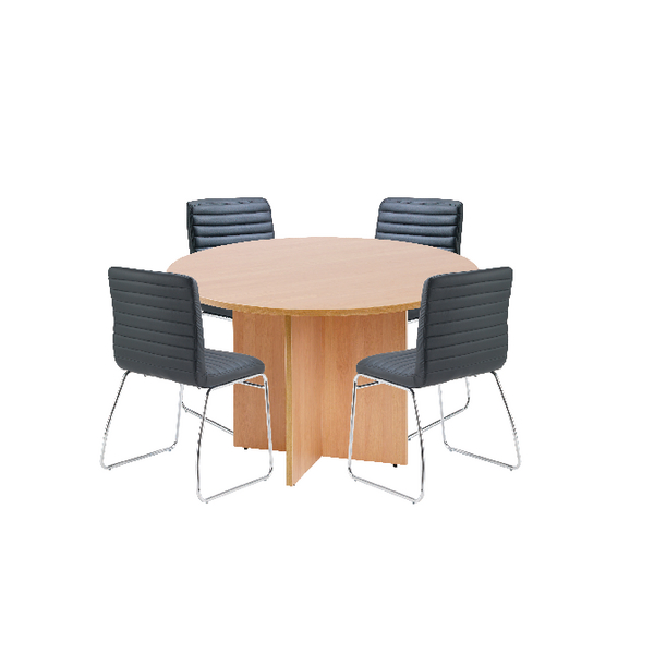 First Beech 1200mm Diameter Round Meeting Table with Dart Meeting Chairs KF839233