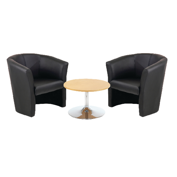 First Tub Chairs Black Vinyl and Low Trumpet Base Coffee Table 800mm Diameter beech KF839236