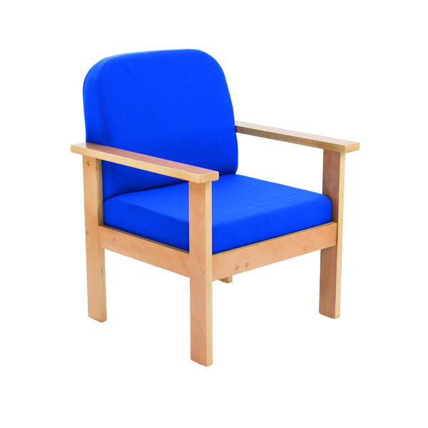 FF First Wooden Reception Armchair Blue OF0310RB