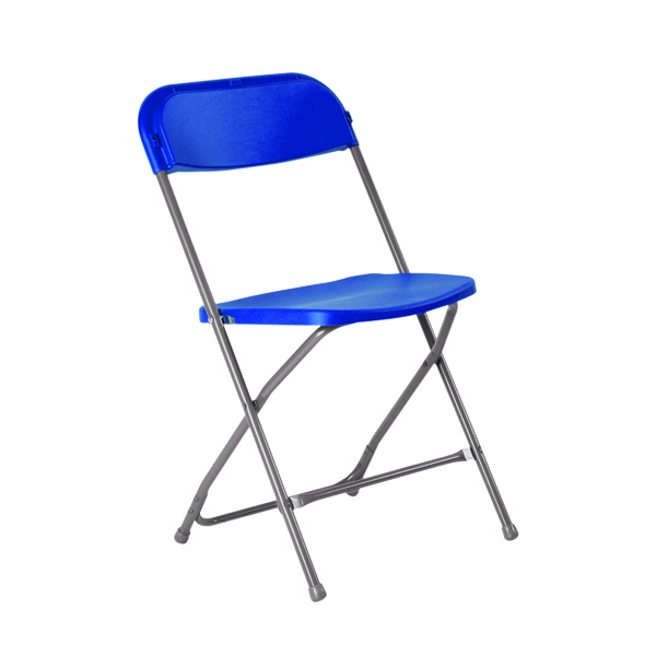 Titan Straight Back Folding Chair Blue TCFLFC1-B