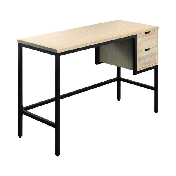 SOHO Computer Desk 1200mm 2 Drawers Oak/Brown Legs KF90844