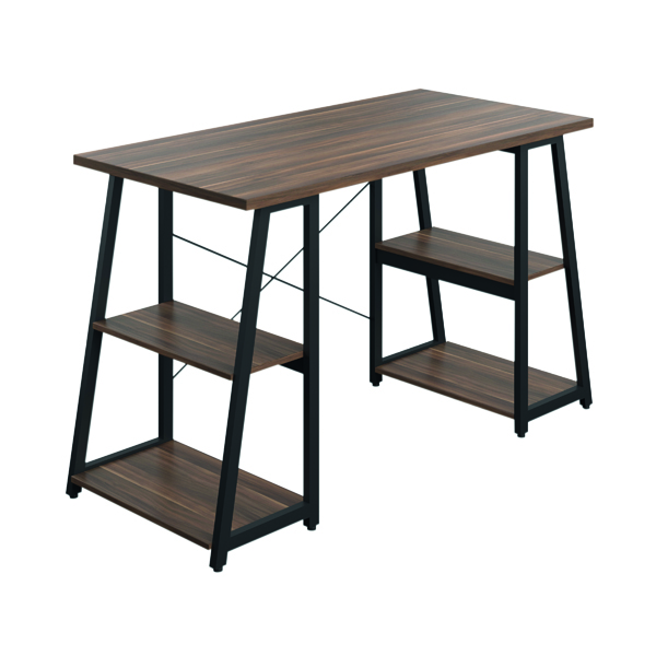 SOHO Computer Desk Walnut W1300mm A-Frame Black Leg Shelves SOHODESK6