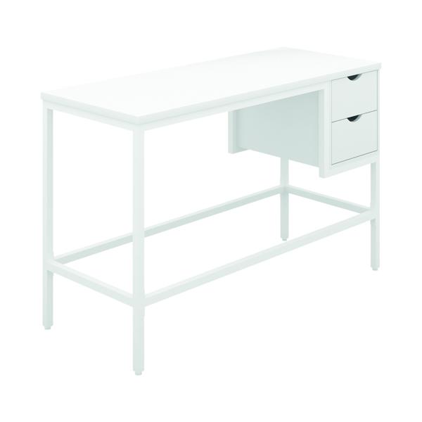 SOHO Computer Desk White W1200mm 2 Drawers White Legs KF90858