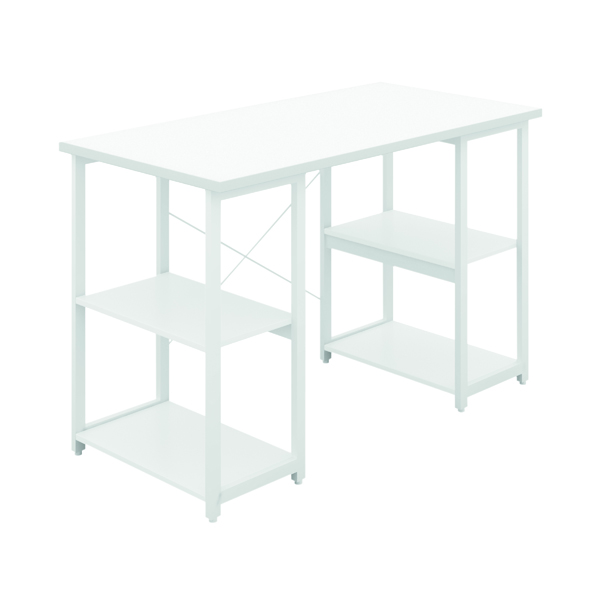 SOHO Computer Desk W1200mm with Shelves White/White Legs SOHODESK7WH