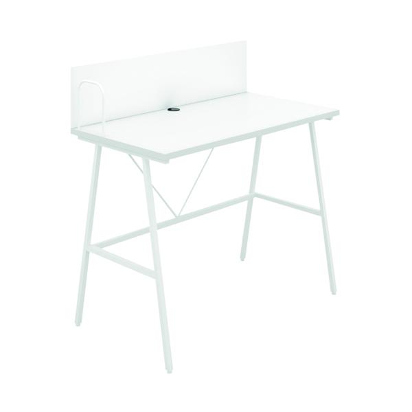 SOHO Computer Desk W1000mm with Backboard White/White Legs SOHODESK9WH