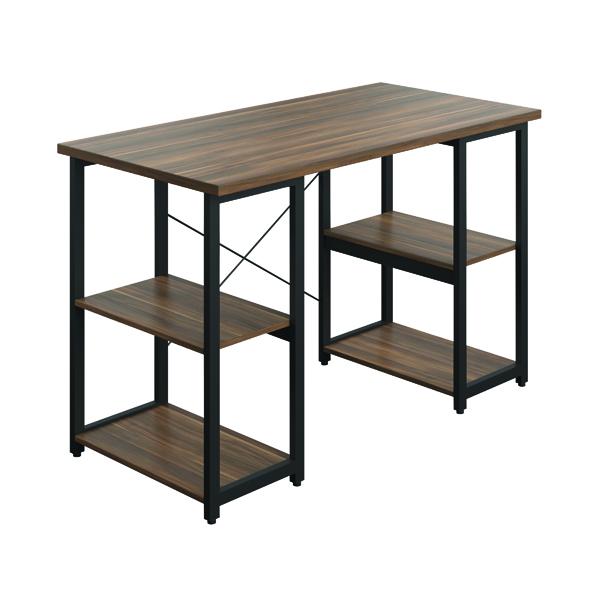 Jemini Soho Desk with Straight Shelves Dark Walnut/Black Leg SD07BKDW