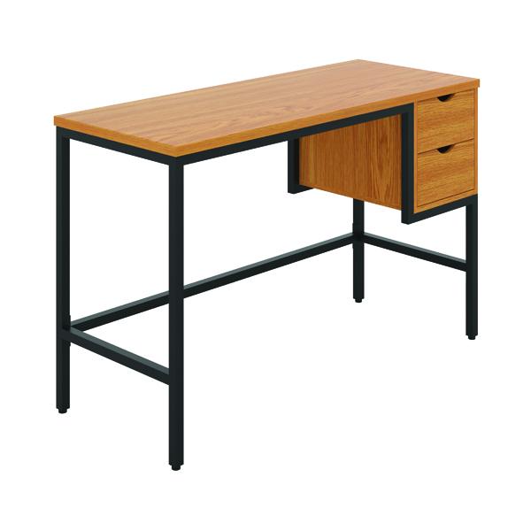 Soho Computer Desk With 2 Drawers Oak/Black KF90926