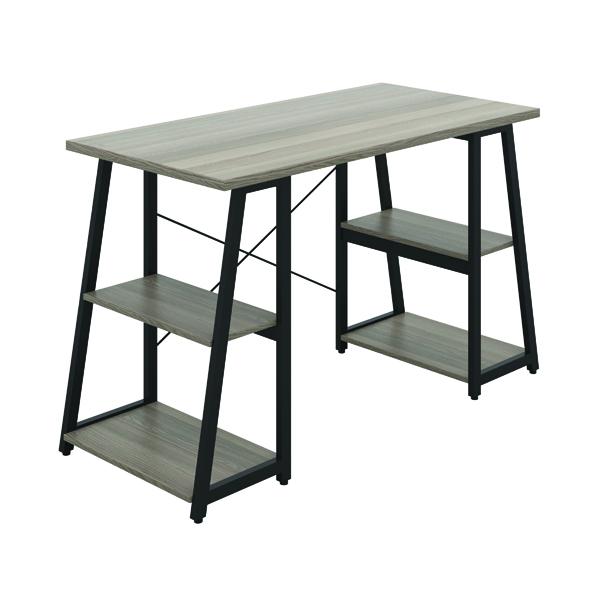 First Soho Desk with Angled Shelves Grey Oak/Black KF90956