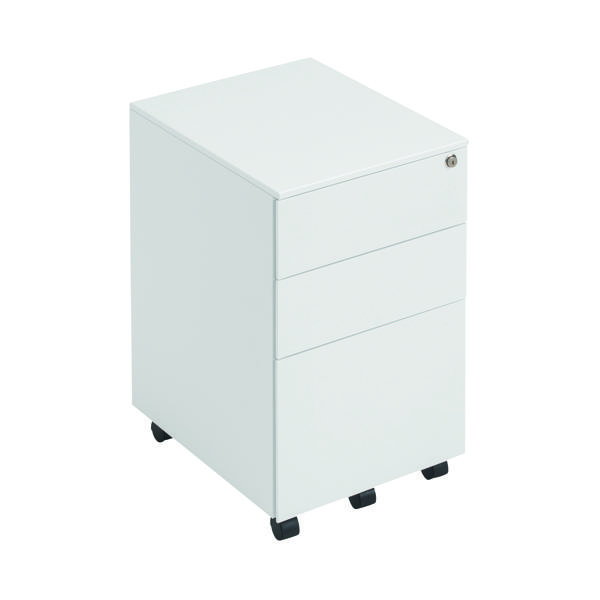 First Steel Under Desk Pedestal 3 Drawer White KF98514