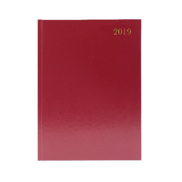 2019 Burgundy Desk A4 Diary 2 Days Per Page KFA42BG19