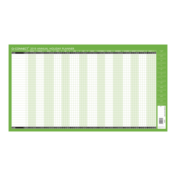 Q-Connect Holiday Planner Unmounted 754 x 410mm 2019 KFAHP19