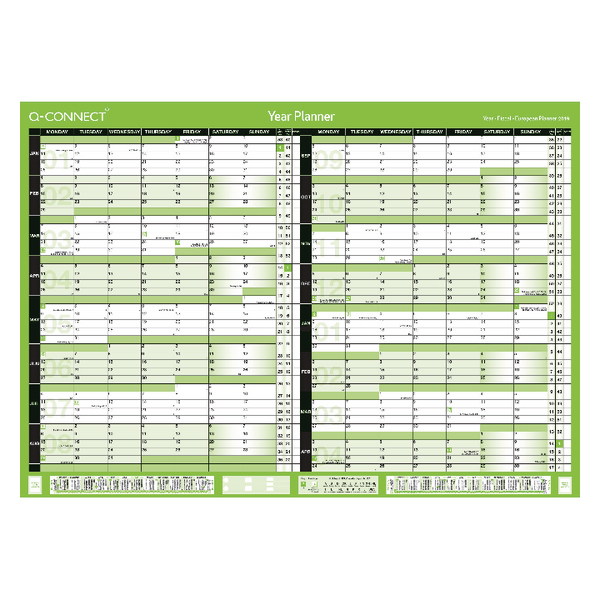 Q-Connect 16 Month Planner January 2019 - April 2020 A1 Unmounted KFBPU119