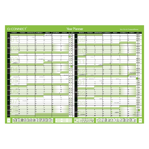 Q-Connect 16 Month Planner January 2019 - April 2020 A2 Unmounted KFBPU219