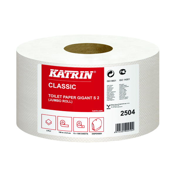 Katrin Mini Jumbo Toilet Roll 2-Ply 61mm Core Refill (12 Pack) 2504
