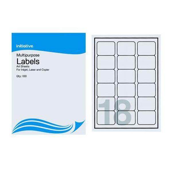 Initiative Multipurpose Labels 63.5x46.6mm 18 per Sheet (100 Pack)