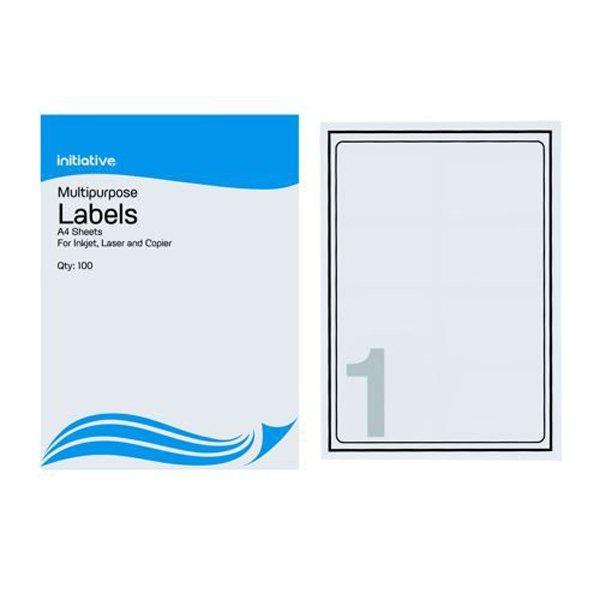 Initiative Multipurpose Labels 199.6x289.1mm 1 per Sheet (100 Pack)