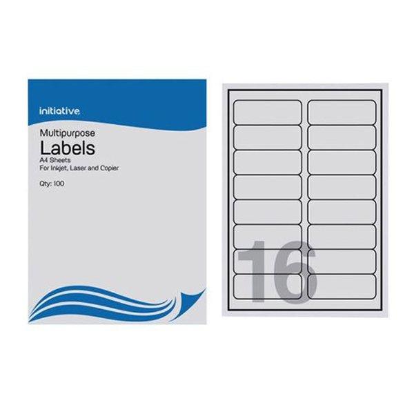 Initiative Multipurpose labels 99.1x33.9mm 16 per Sheet (100 Pack)
