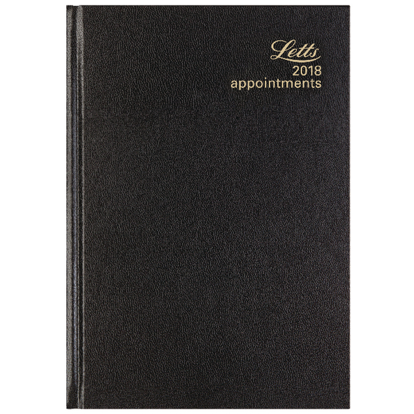 Letts 12X A5 Day/Page Appointment Black 2018 Diary 18-T12XBK