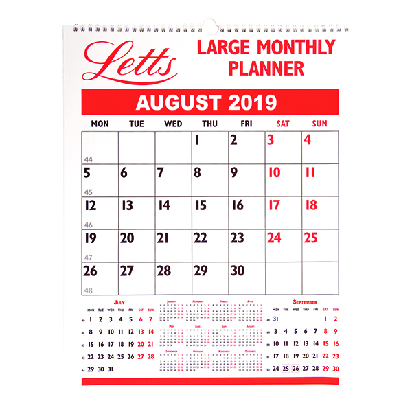 Letts Large Monthly Planner 2019 5-TLMP