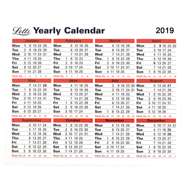 Letts Yearly Calendar 2019 5-TYC